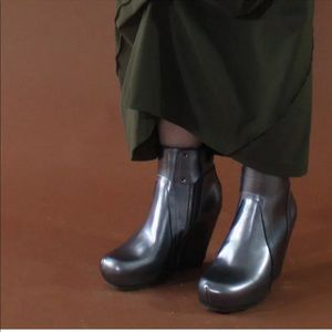 RICK OWENS wedge leather silver boots